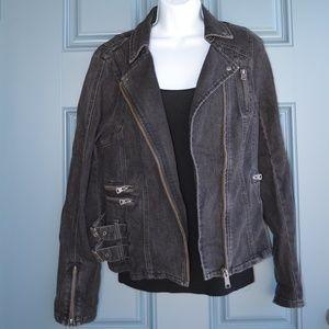 Black Moto Style Denim Jacket by Free People Sz. 8